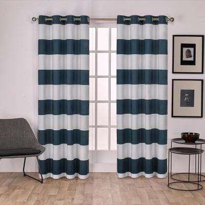 Surfside 54 in. W x 96 in. L Cotton Grommet Top Curtain Panel in Indigo (2 Panels)