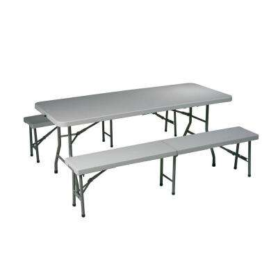 3-Piece Grey Folding Table and Bench Set