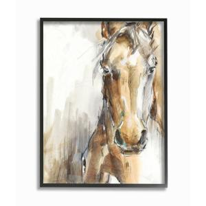 Stupell Industries Horse Portrait Orange Brown Animal Watercolor Painting Wall Plaque Design by Artist Ethan Harper 10 x 15