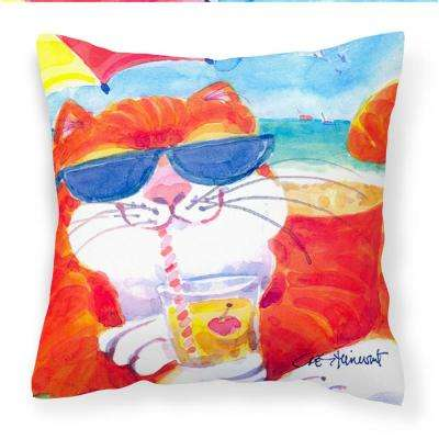14 in. x 14 in. Multi-Color Lumbar Outdoor Throw Pillow Cool Cat with Sunglasses at the Beach