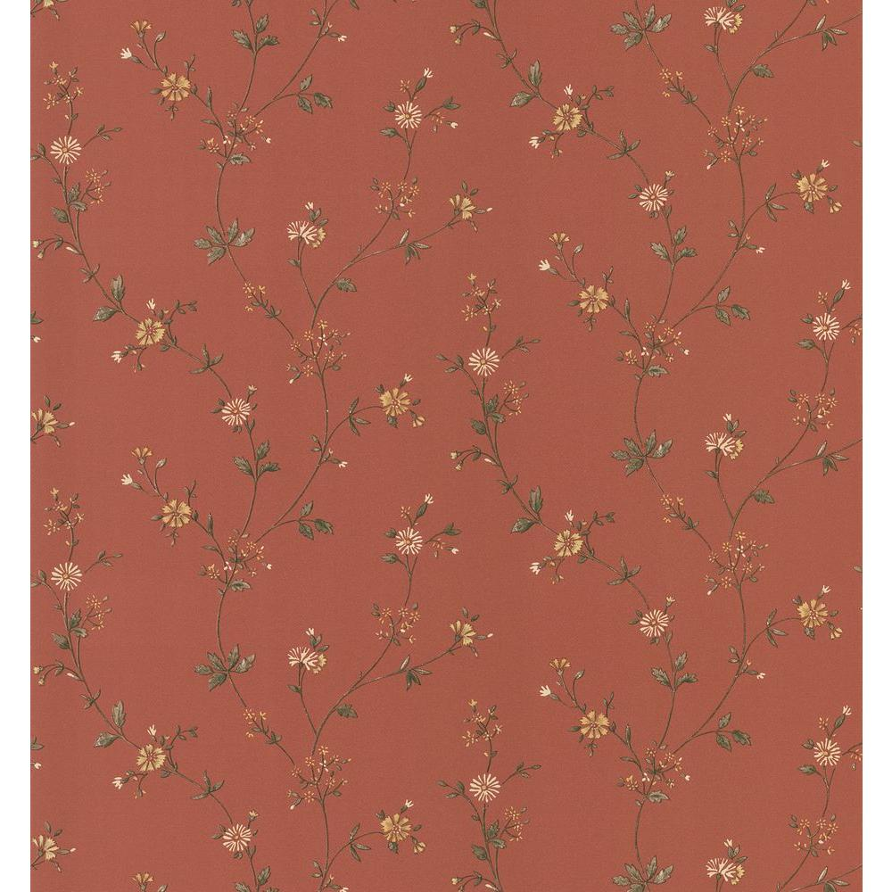 Cottage Living Red Daisy Trail Wallpaper Sample