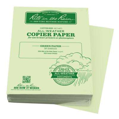 All-Weather 8-1/2 in. x 11 in. 20 lbs. Bulk Copier Paper, Green (500-Sheet Pack)