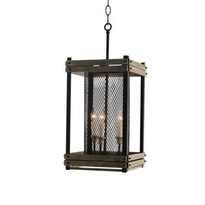 Farmhouse 3-Light Rustic Walnut Lantern
