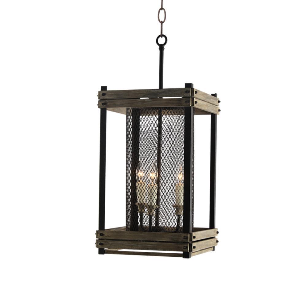 Farmhouse 3-Light Rustic Walnut Lantern