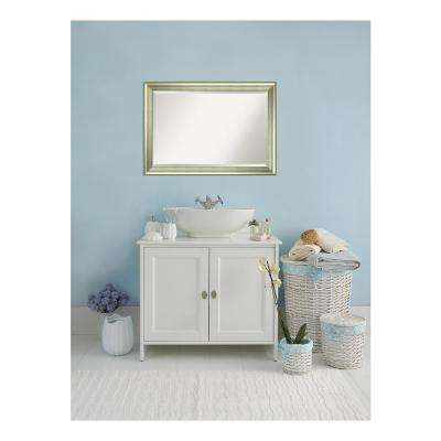 Vegas Curved Silver Wood 41 in. W x 29 in. H Single Casual Bathroom Vanity Mirror