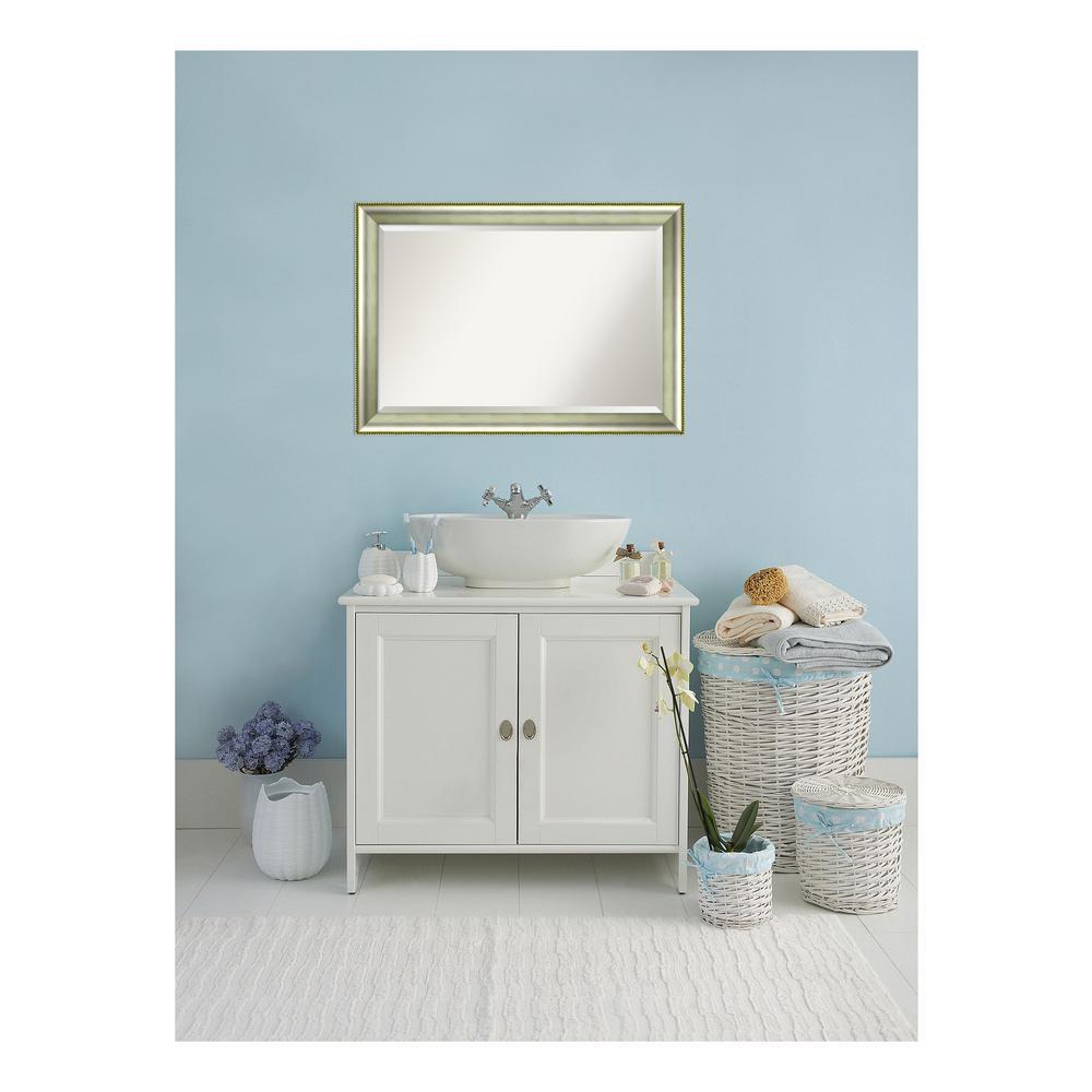 Vegas Curved Silver Wood 41 in. W x 29 in. H Single Casual Bathroom Vanity Mirror