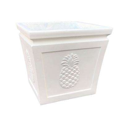 10.24 in. x 10.24 in. x 8.66 in. Light Cream Lightweight Concrete Pineapple Embossed Flared Square Small Planter