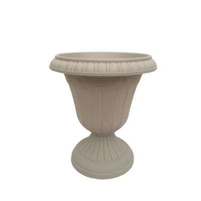 Traditional 13 in. x 15 in. Taupe Plastic Urn