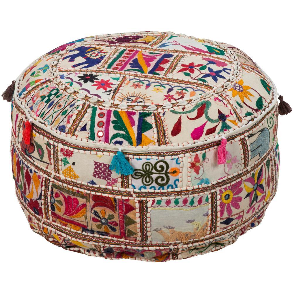 Siena Multi-Color Accent Pouf Ottoman