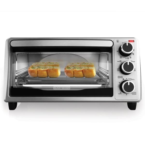 BLACK+DECKER 4-Slice Stainless Steel Toaster Oven-TO1303SB - The Home Depot