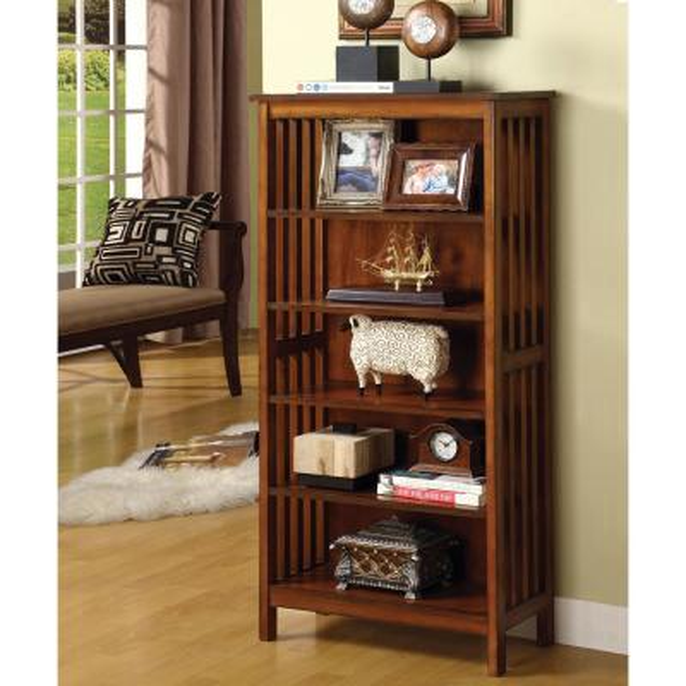 48 in. Antique Oak Wood 5-shelf Standard Bookcase
