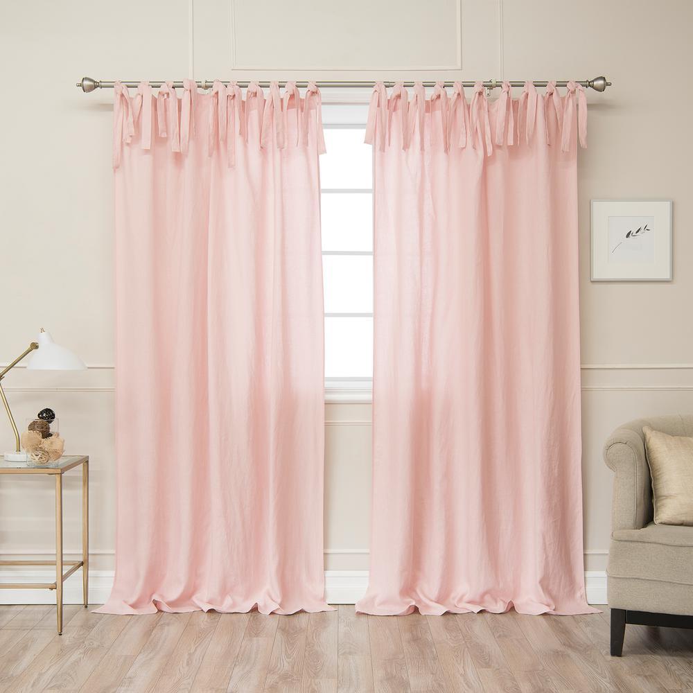 Pink 96 in L. Abelia Belgian Flax Linen Tie Top Curtain Panel