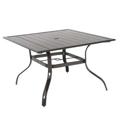 Commercial Aluminum 42 in. Square Outdoor Slat Top Dining Table in Brown