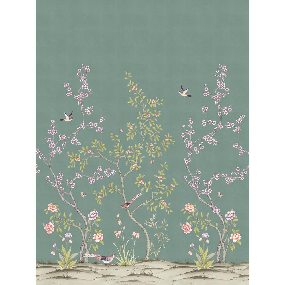 Tempaper Garden Antiqued Jade Self-Adhesive, Removable Wallpaper Mural