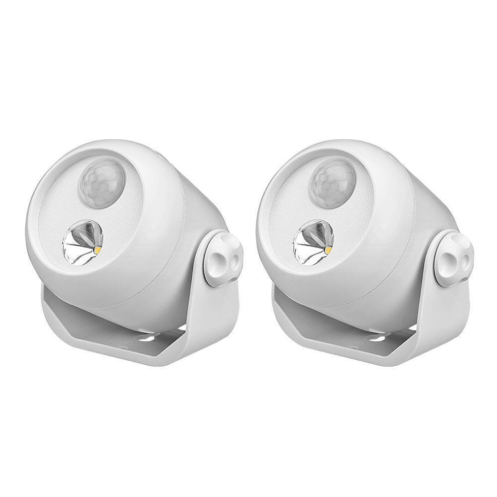 White Wireless Motion Sensing LED Spot Light (2-Pack)