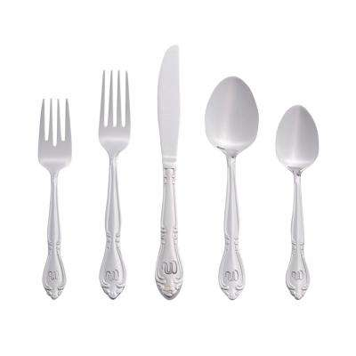 Rose Monogrammed Letter W 46-Piece Silver Stainless Steel Flatware Set