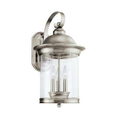 Hermitage 3-Light Antique Brushed Nickel Outdoor Wall Mount Lantern