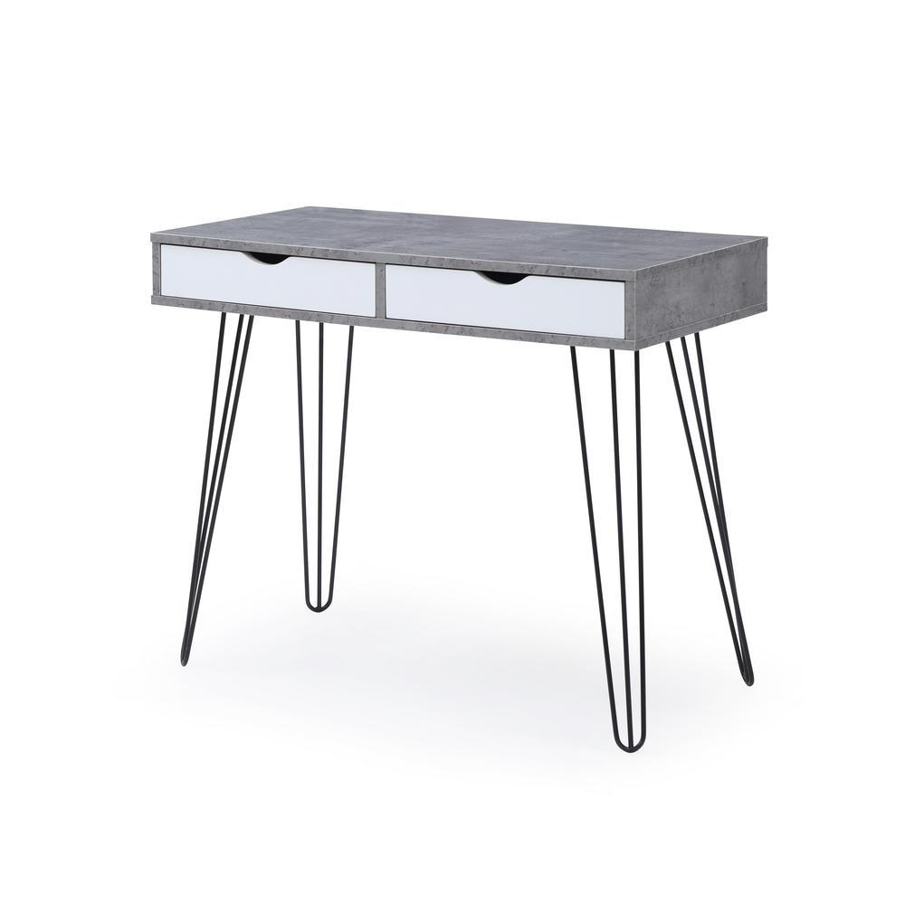36 in. Rectangular Black 2 Drawer Desk Components with Storage