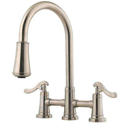 Ashfield 2-Handle Pull-Down Sprayer Kitchen Faucet in Brushed Nickel