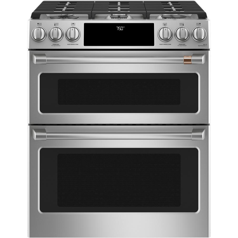Cafe 30 in. 7.0 cu. ft. Smart Slide-In Double-Oven Gas Range with Self-Cleaning and Lower Convection Oven in Stainless Steel