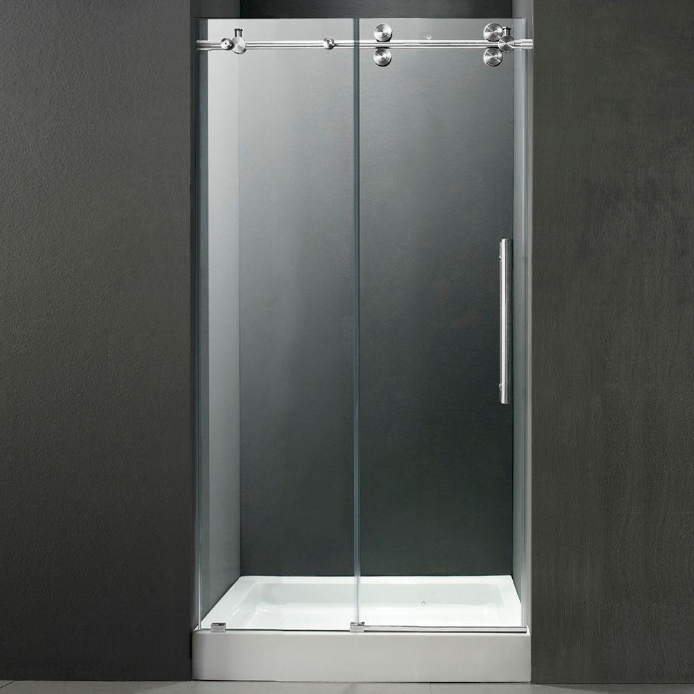 Vigo 60 in. x 80 in. Frameless Bypass Shower Door in Chrome with Clear Glass and White Base with Center Drain