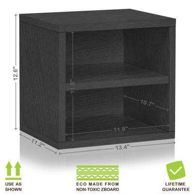 Connect System 11.2 in. x 13.4 in.x13.4 in. zBoard  Stackable Storage Cube Organizer Unit with Shelf in Black Wood Grain