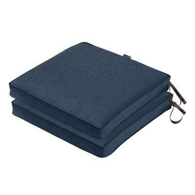 Montlake FadeSafe 20 in. L x 20 in. W x 2 in. Thick Heather Indigo Blue Square Outdoor Seat Cushion (2-Pack)