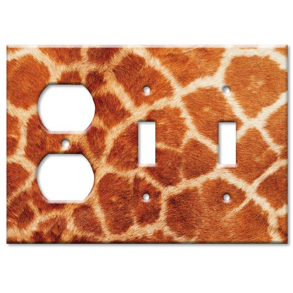 Art Plates Giraffe Fur Print Outlet/2 Switch Combo Wall Plate