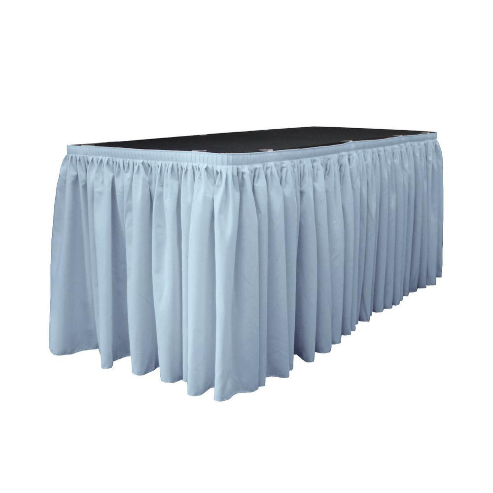 30 ft. x 29 in. Long Light Blue Polyester Poplin Table