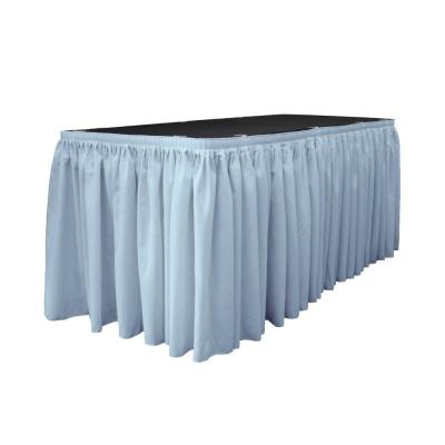 30 ft. x 29 in. Long Light Blue Polyester Poplin Table Skirt with 15 L-Clips