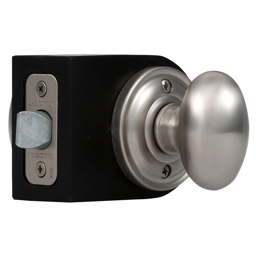Baldwin Reserve Ellipse Satin Nickel Hall/Closet Knob with Traditional Round Rose