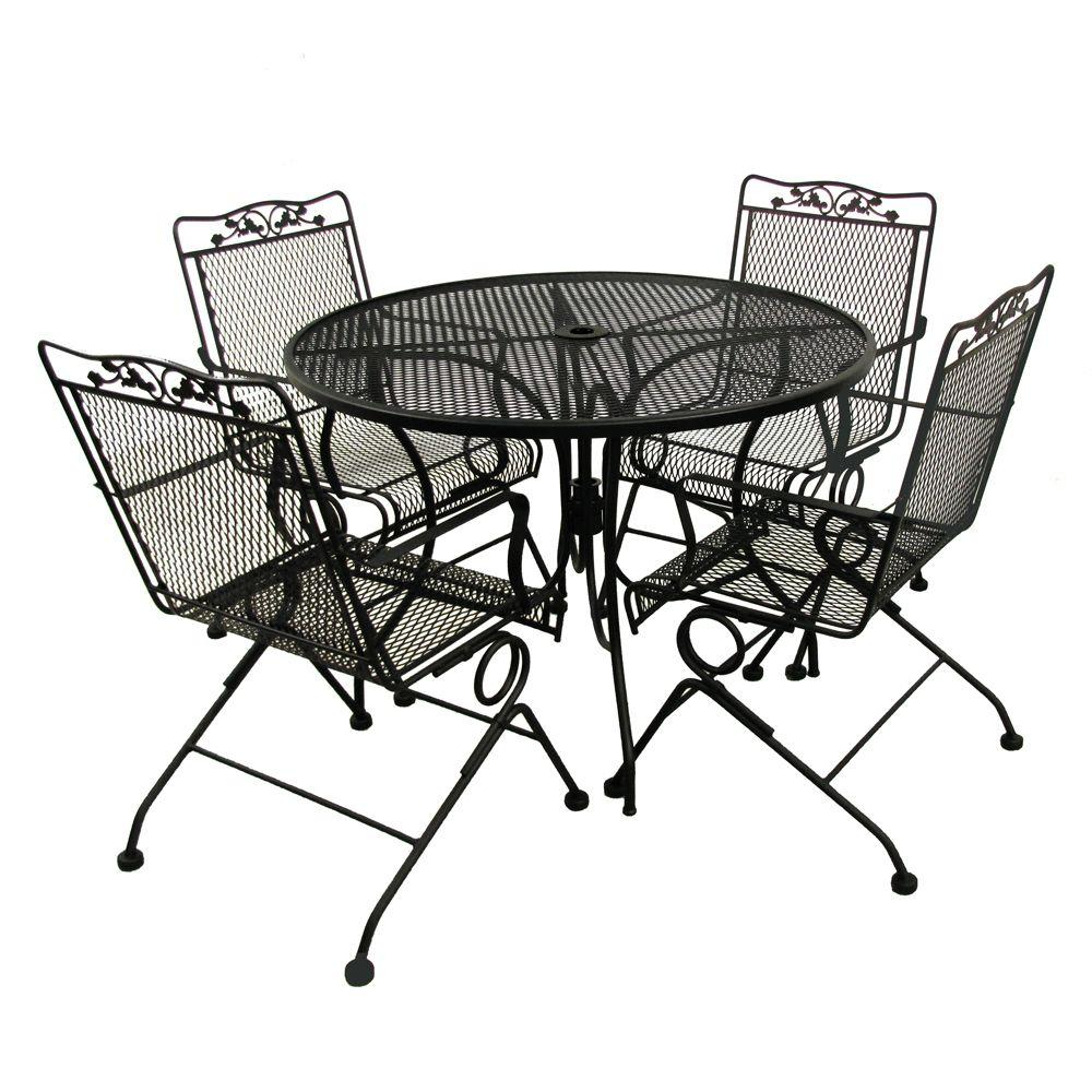 Black 42 In Round Mesh Patio Dining