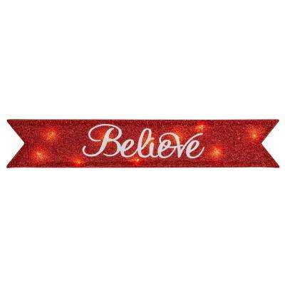 6 in. Believe Christmas Tinsel Message Banner