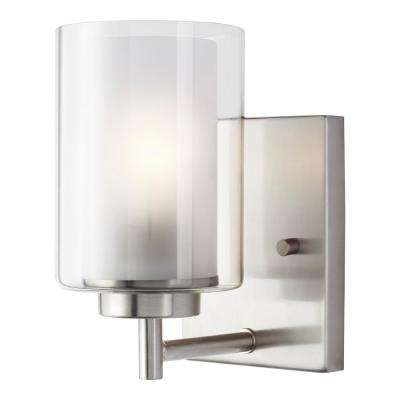 Elmwood Park 4.5 in. W 1-Light Brushed Nickel Vanity Light with LED Bulb