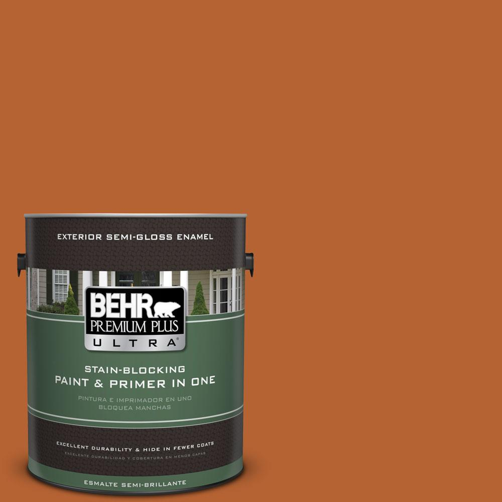 BEHR Premium Plus Ultra 1-gal. #250D-7 Caramelized Orange Semi-Gloss Enamel Exterior Paint