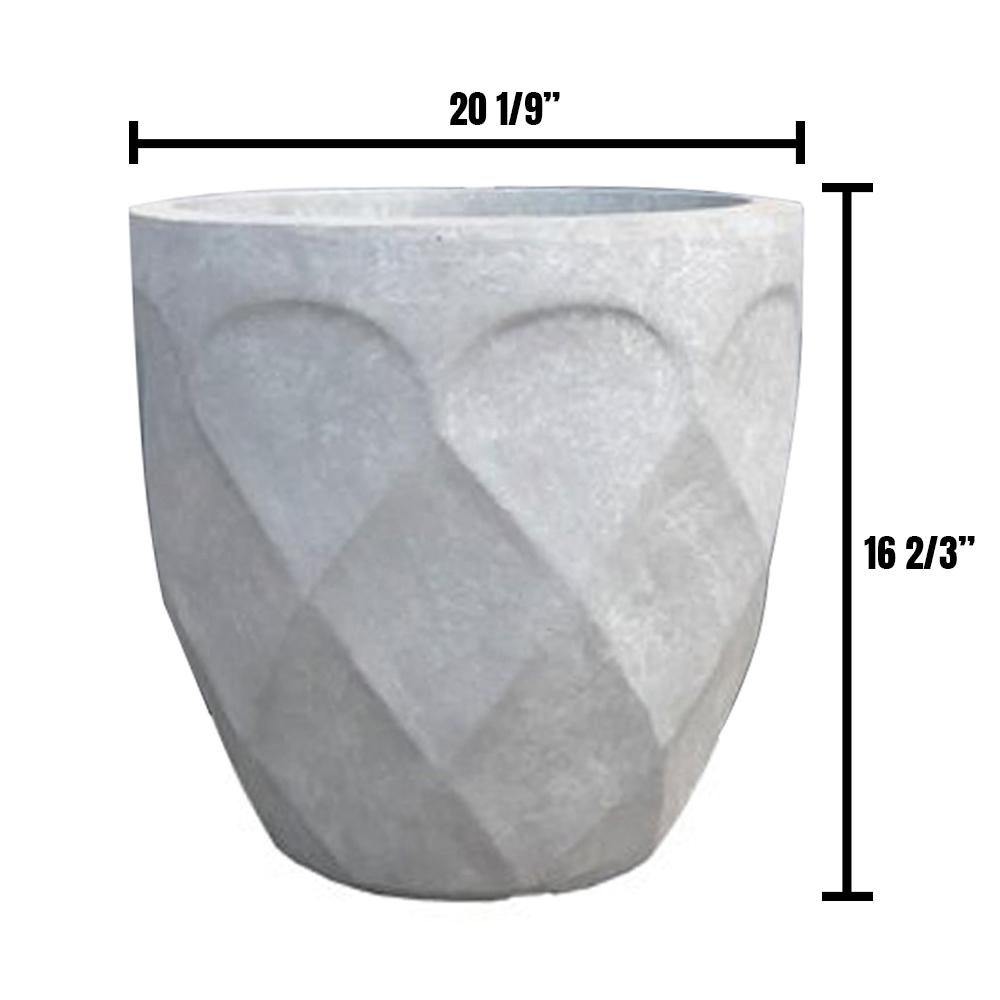 DurX-litecrete Large 20 in. Dia Lightweight Concrete Modern Retro Round Slate Gray Planter