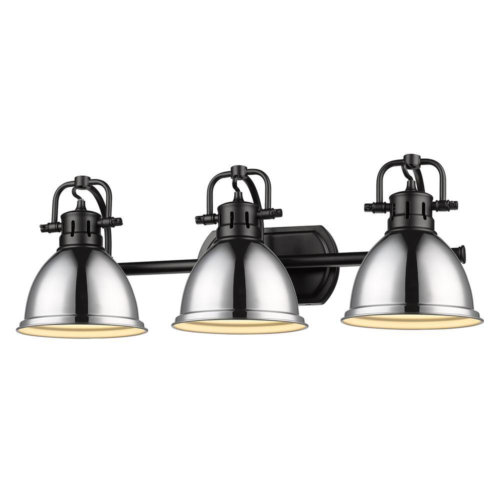 Duncan 8.125 in. 3-Light Matte Black Vanity Light