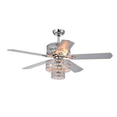 Empire Trois 52 in. Indoor Chrome Remote Controlled Ceiling Fan with Light Kit