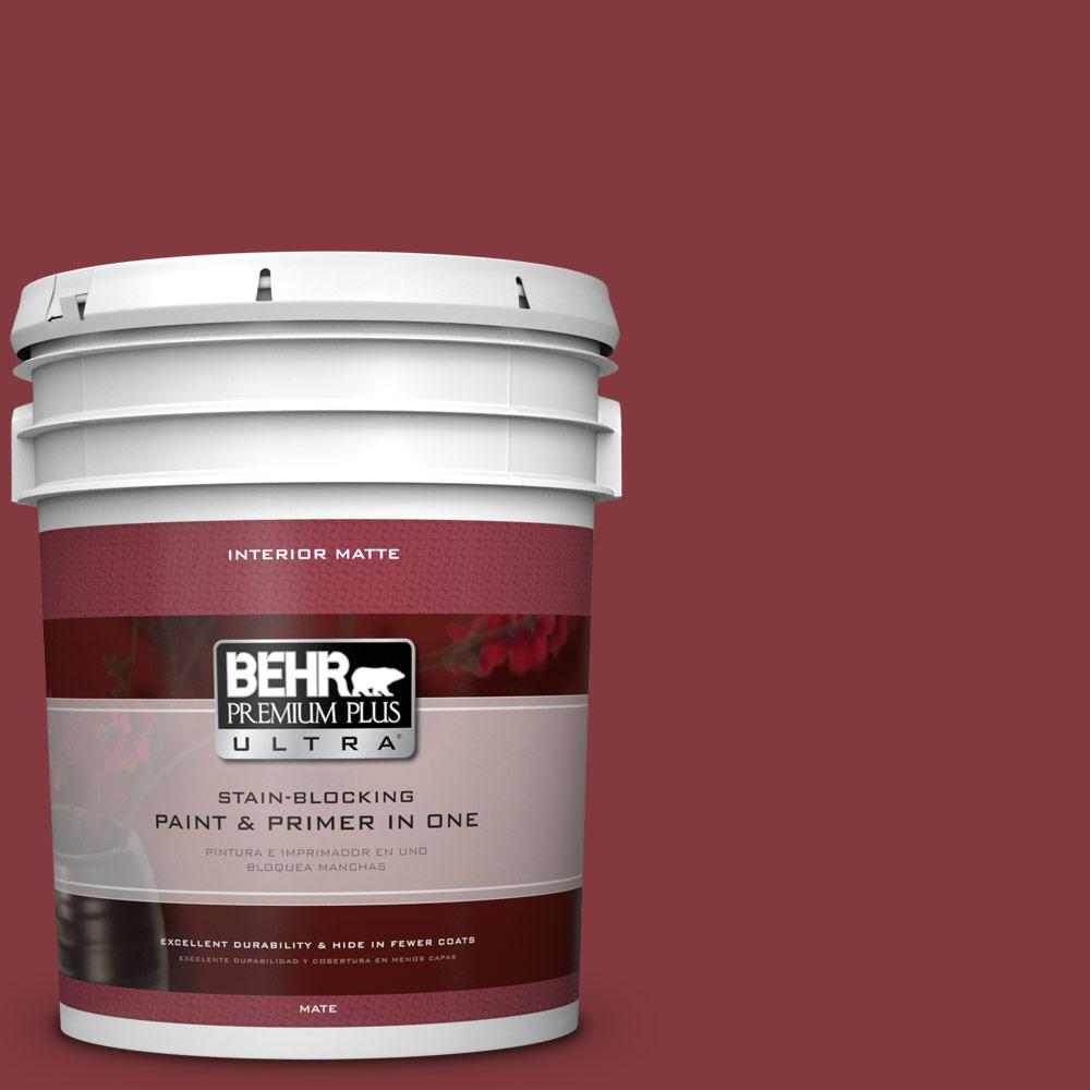BEHR Premium Plus Ultra 5 gal. #S-H-130 Red Red Wine Matte Interior Paint and Primer in One
