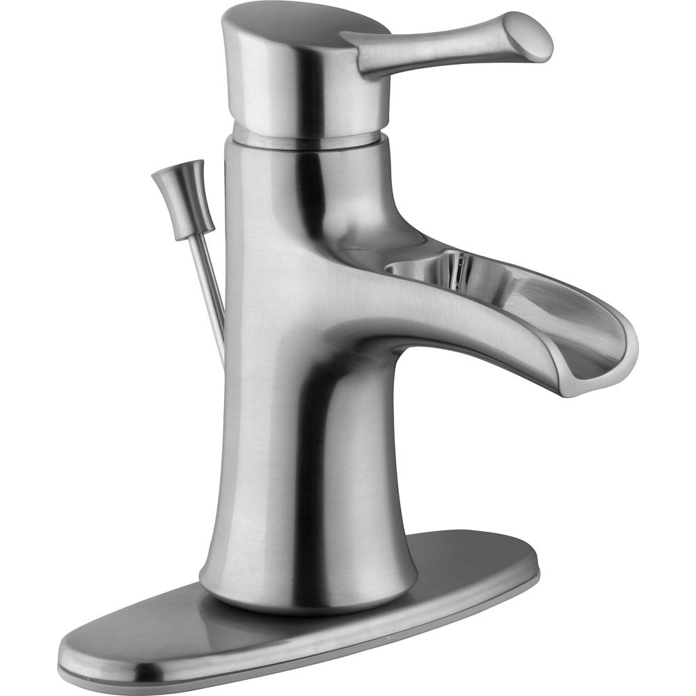 Glacier Bay Gatsby I 4 in. Centerset Single-Handle Low-Arc Bathroom Faucet in Brushed Nickel