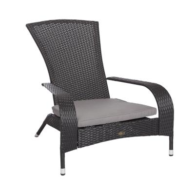 Coconino Black Wicker Plastic Adirondack Chair with Gray Cushion