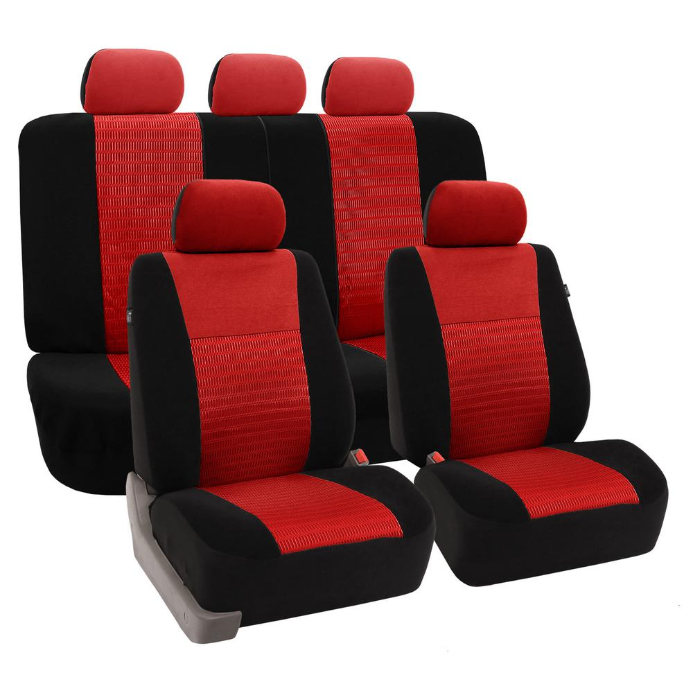 FH Group Fabric 47 In X 23 1 Deluxe 3D Air Mesh Full Set Seat Covers FB060RED115
