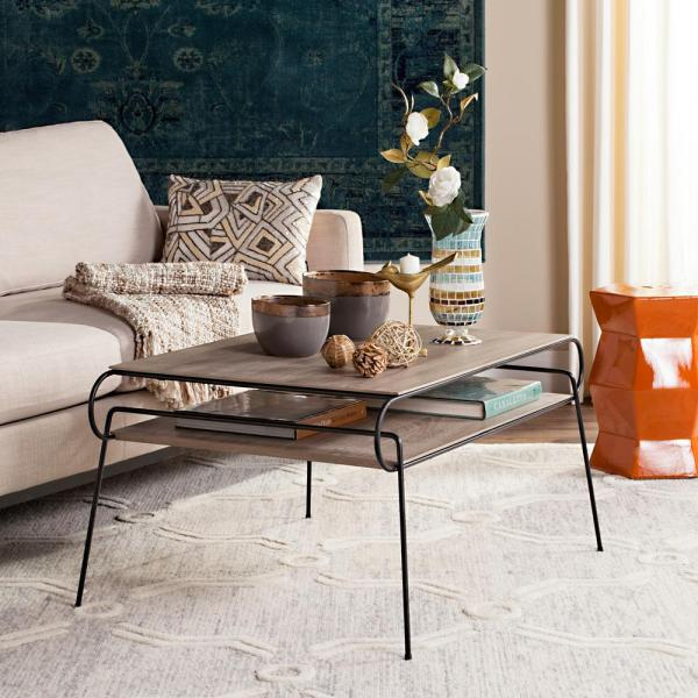 Safavieh Marcello Retro Mid Century Two Tier Light Gray Coffee Table