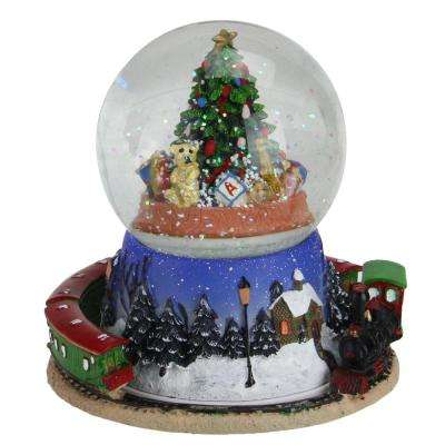 65 in christmas tree and train revolving musical glitterdome decoration