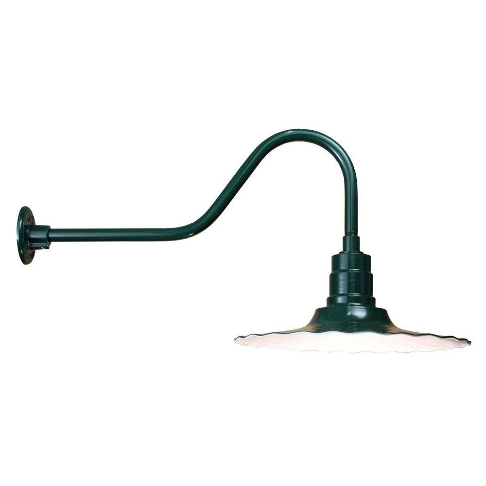 1-Light Outdoor Green Angled Arm Radial Shade Wall Sconce