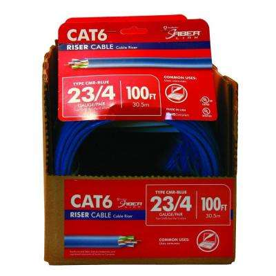 100 ft. Blue 23/4 Solid CU CAT6 CMR (Riser) Data Cable