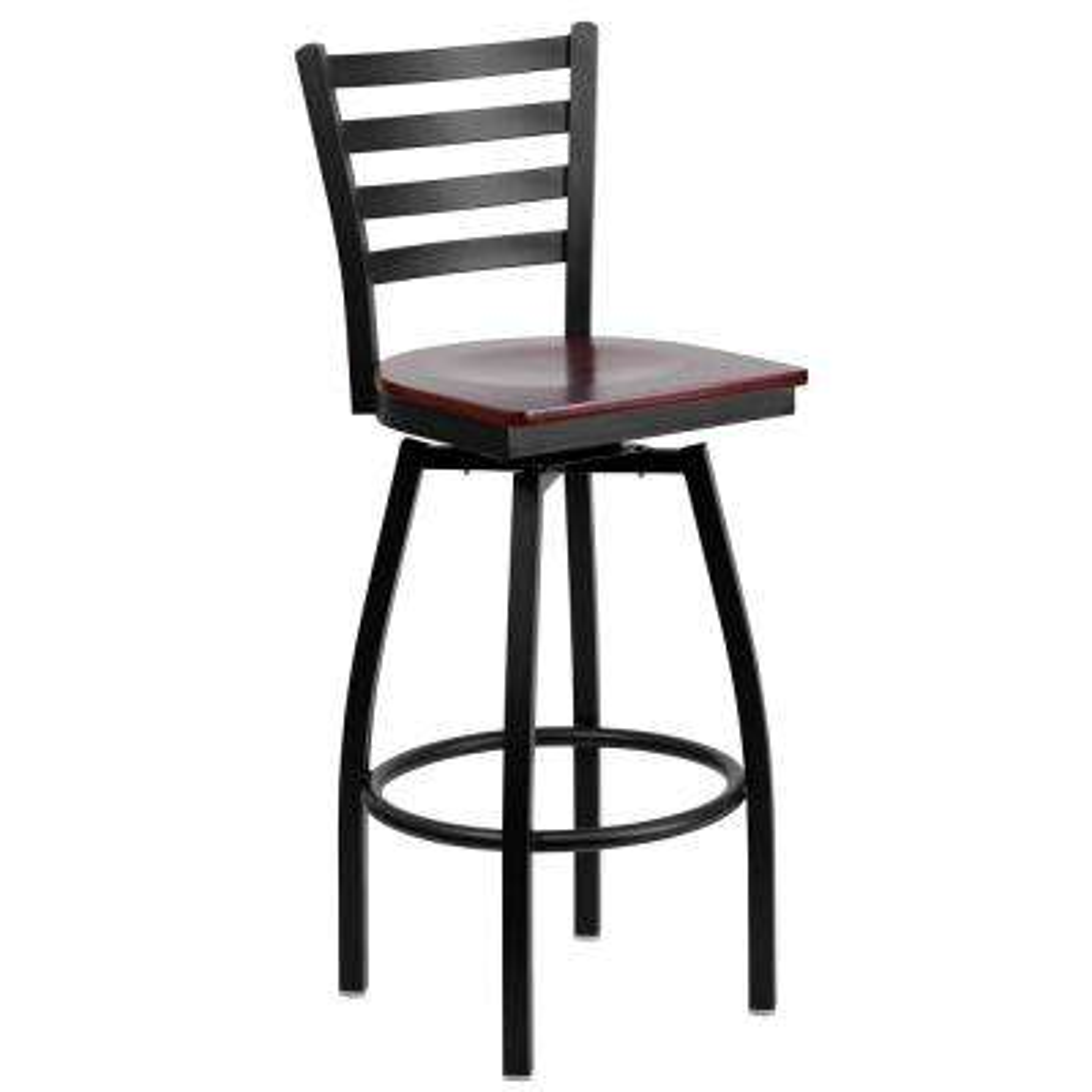 44.5 in. Mahogany Wood Seat/Black Metal Frame Bar Stool