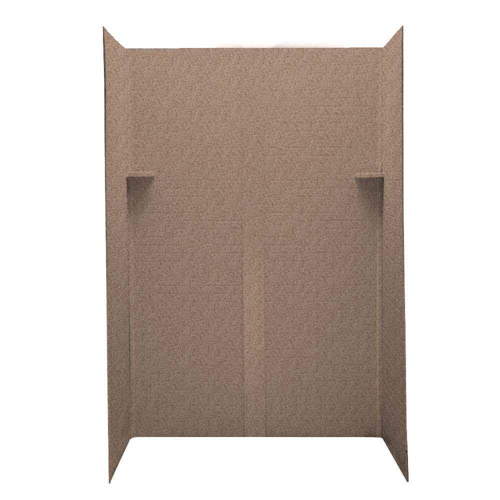 Swanstone Geometric 34 in. x 48 in. x 72 in. Five Piece Easy Up Adhesive Shower Wall Kit in Ironweed-DISCONTINUED
