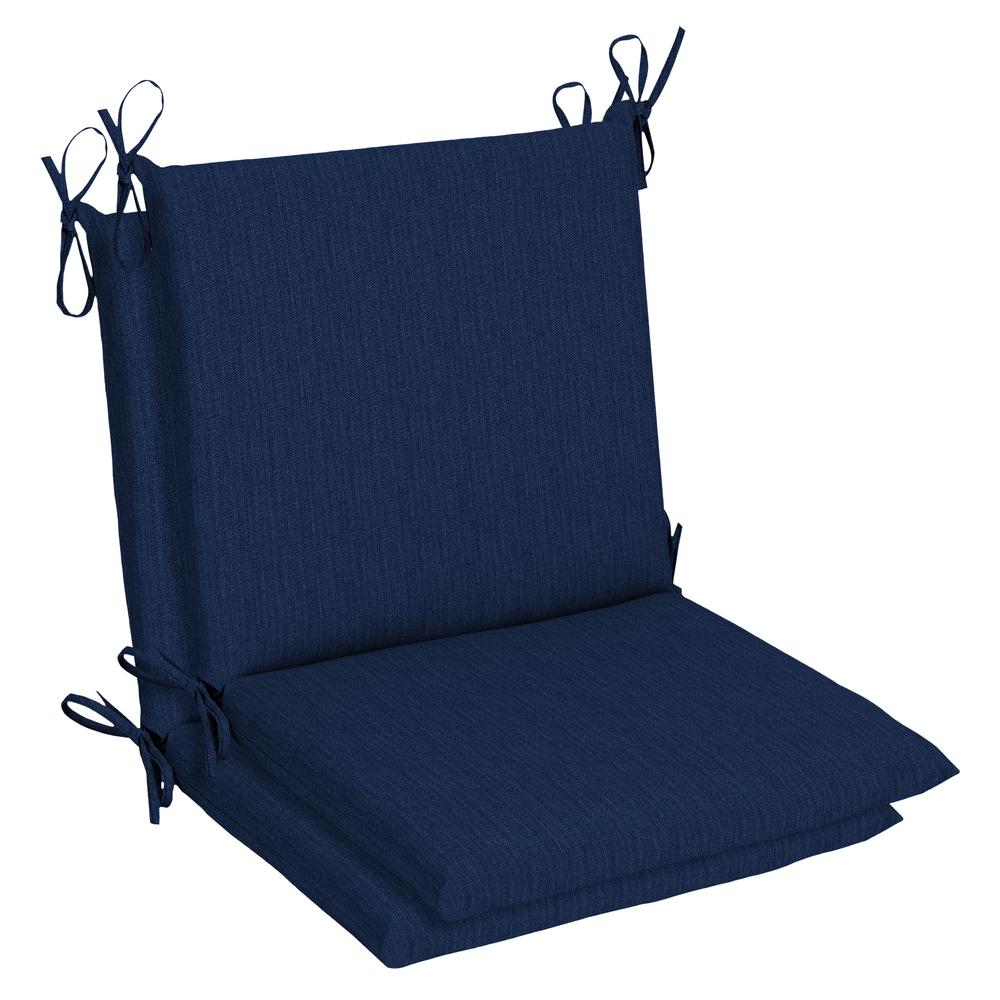 Home Decorators Collection 3 x 3 Sunbrella Spectrum Indigo Mid Back  Outdoor Dining Chair Cushion (3-Pack)