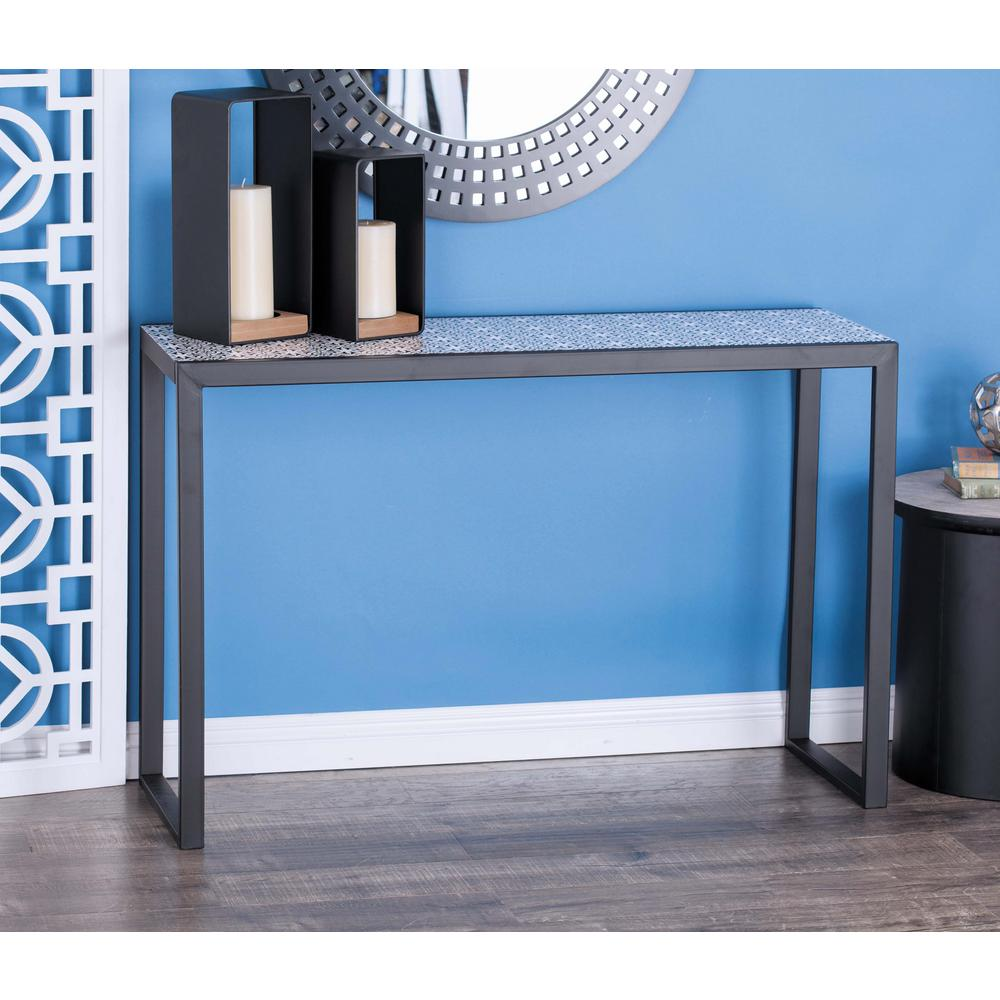 Modern metal and wood lattice console tables in black set of 2 modern metal and wood lattice console tables in black set of 2 65684 the home depot geotapseo Gallery